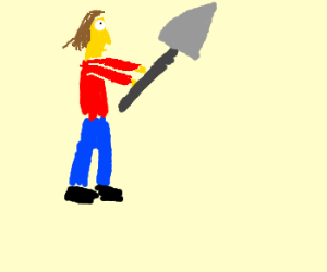 A yellow man with a shovel
