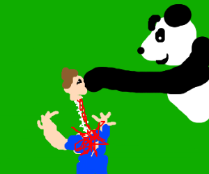 Panda ripsout man's spine, looks pleased