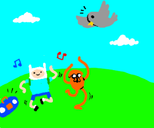 Finn and Jake lure birds with dancing