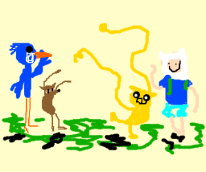 Mordecai and Rigby meet Finn and Jake.