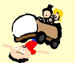 Tiny family driving a shoecar over a man