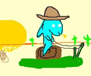 Fish Cowboy rides Snail.