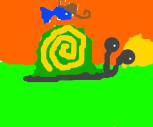 Fish Cowboy rides snail into sunset