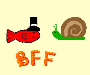 Fish with hat is w/ is best friend Snail