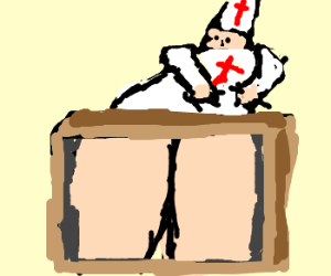 Surprise! It's a priest's ass in a box!
