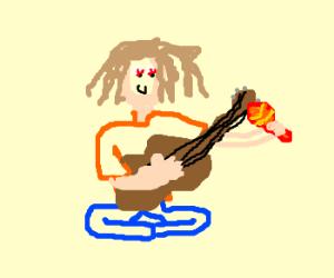 Hippy plays guitar and maraca