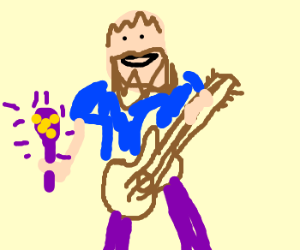 Hobo jams out with guitar and maraca