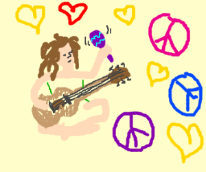 Hippie with a guitar and purple maraca.