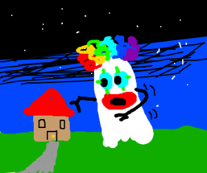 Large ghost clown haunts small house