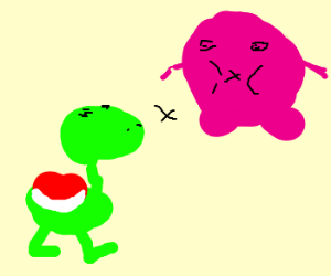 Kirby and Yoshi try to eat each other