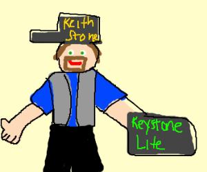 keith stone carrys case of keystone lite