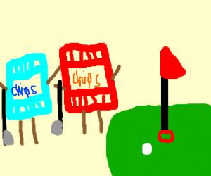 2 chip bags go golfing