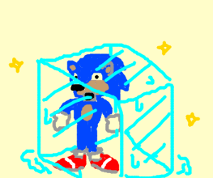 sonic in an ice cube