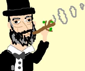 Lincoln smoking a twig