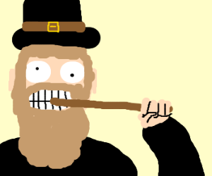Amish man eats a stick.