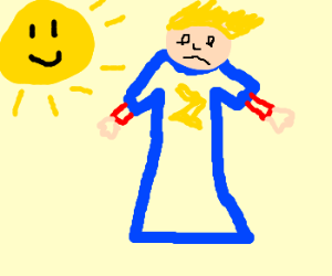 Flash dresses in blue in front of sun