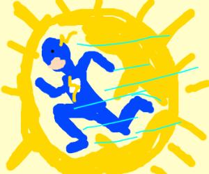 Blue flash running in the sun