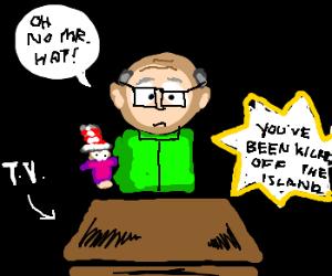 Mr. Garrison watching 'Survivor'