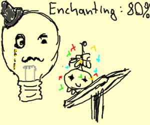 Gentlemen Lightbulb Enchants A Digimon
