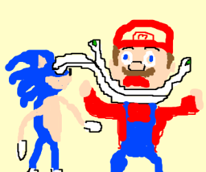 Sonic strangles Mario with his eyes.