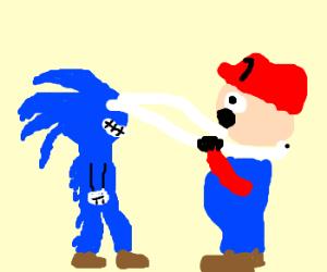Sonic's stretchy eyeballs choke Mario.
