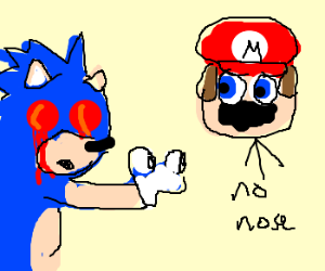 sonic pop out eyes to see mario no nose