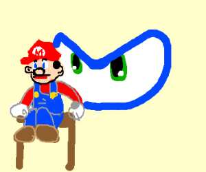 Mario's dumbstruck by Sonic's eyes