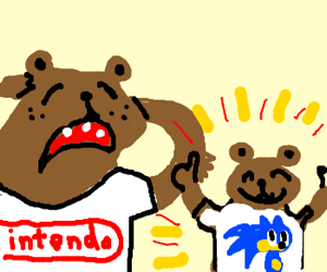 Bear finds out son supports sega.