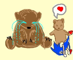 Big bear cries! Lil' bear is a Sonic fan