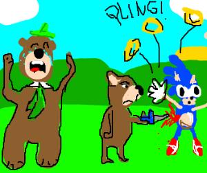 Big bear cries as small bear kills Sonic