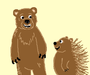 A bear and a porcupine are happy