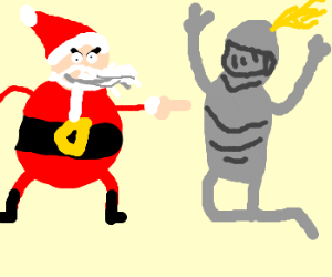 Santa Defeats Knight With Finger Stab