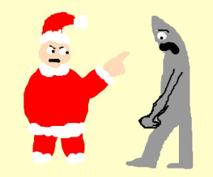Santa scolds knight.