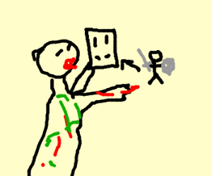A zombie casing a knight