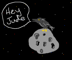 "Crow sitting on an asteroid ""Hey Jude!"""