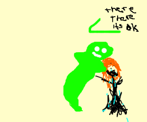 Green ghost dad comforts daughter