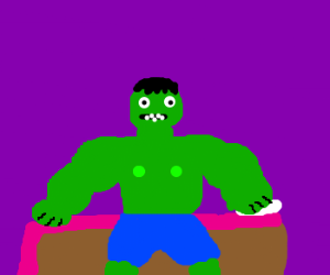 Hulk getting up from bed