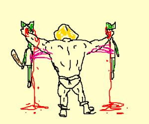 Heman kills a goblin
