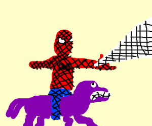 Spiderman rding on Derpy Hooves