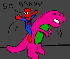 Spiderman riding Barney
