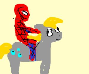 Spiderman will rides derpy hooves!