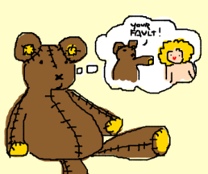 Teddy bear thinks the blond chick did it