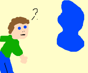 Man confused by floating blue blob