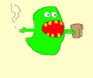 Slimer smokes and eats a PB&J.