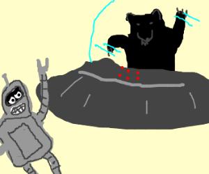 Bender exits black bear spaceship