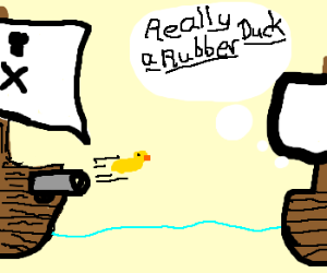 Pirate cannon fires suspicious object