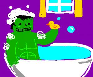 Hulk takes bathes w/ rubber duck
