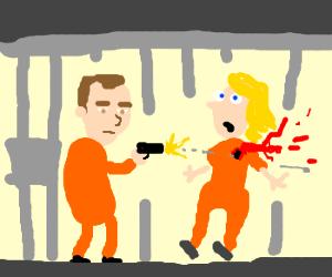 plain man kills woman behind bars