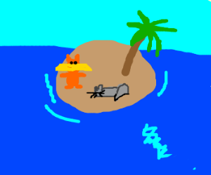 Lorax and cat on desert island