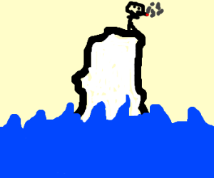 a naked guy smoking on an iceberg